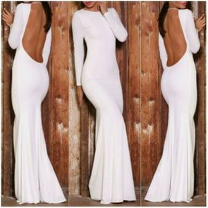 Backless White Long Sleeve Maxi Dress